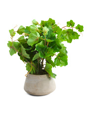 8.5in Uv Proof Faux Greenery In Hanging Cement Pot