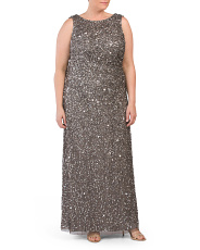 Plus Sleeveless Sequin A-line Gown