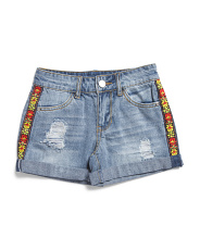 Big Girls Cuffed Denim Shorts