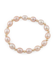 14k Gold Pink Pearl And Bead Stretch Bracelet