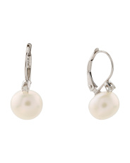 14k White Gold Diamond And Pearl Drop Earrings