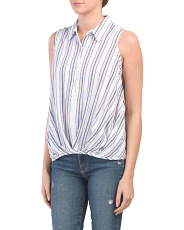 Linen Look Striped Gathered Front Top