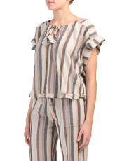 Striped Linen Blend Front Tie Top