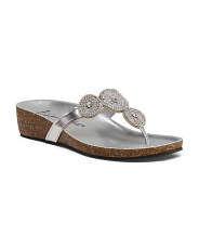 Made In Italy Jewel Thong Slip On Sandals