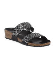 Made In Italy Two Band Crystal Slip On Sandals