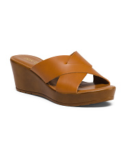 Made In Italy X Band Leather Wedges