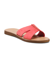 Made In Italy Leather Top Stitch Slide Sandals