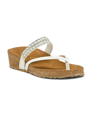 Made In Italy Leather Wedge Sparkle Sandals