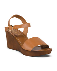 Made In Italy Mid Wood Wedge Leather Sandals