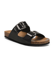 Made In Italy Double Strap Leather Sandals