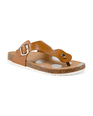 Made In Italy Leather T-strap Sandals
