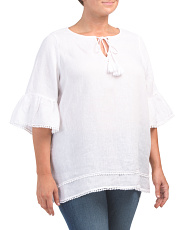 Plus Linen Split Neck Blouse
