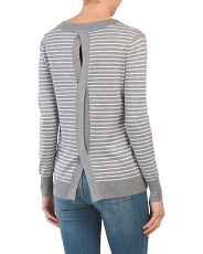 Striped Cable Back Sweater