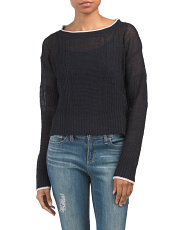 Linen Cropped Mixed Stitch Sweater