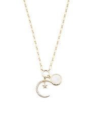 Gold Plated Sterling Silver Crescent Moon And Star Necklace