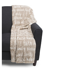 Family Words Plush Throw