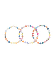 Multicolor Agate And Hematite Set Of 3 Stretch Bracelets