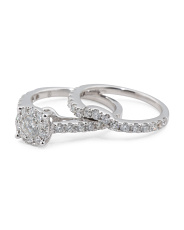 14k White Gold And Diamond Oval Bridal Ring Set