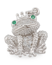 Sterling Silver Frog Prince Charm With Pave Cz