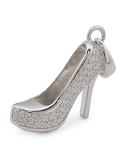 Sterling Silver Pave Cz High Heel Charm