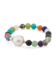 Pearl Baroque Pearl Hematite And Gemstone Stretch Bracelet