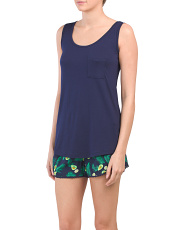 Scoop Neck Tank With Avocado Woven Shorts
