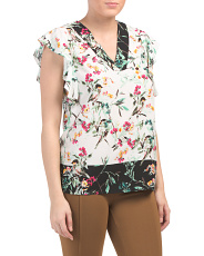 Twin Print Short Sleeve Floral Top
