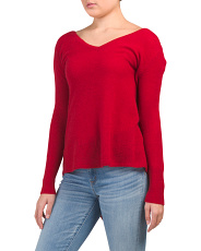Cashmere V Neck Asymmetrical Sweater