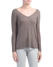 Cashmere V Neck Assymetrical Sweater