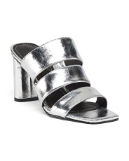 Three Band High Heel Leather Sandals