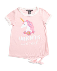 Big Girls Unicorns Are Real Front Tie Tee