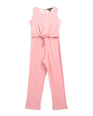 Big Girls Tie Front Polka Dot Jumpsuit