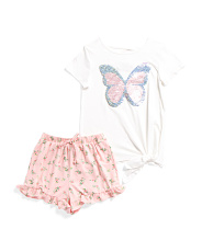 Big Girls Flip Sequin Tee And Woven Short Set
