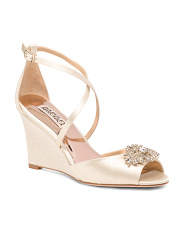 Crystal Embellished Peep Toe Wedges