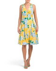 Printed Tie Front Cotton Blend Dress