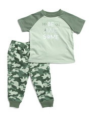 Infant Boys 2pc Be Awesome Tee And Jogger Set