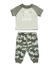 Baby Boys 2pc Be Awesome Tee And Jogger Set