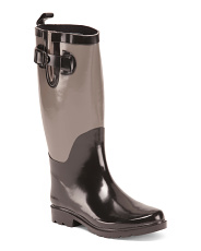 Two Tone Knee High Rain Boots