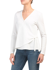 Long Sleeve Surplice Front V-neck Top
