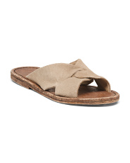 Haircalf Cross Band Slide Sandals