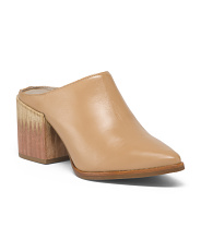 Made In Brazil Block Heel Leather Mules