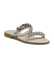 Leather Slide Sandals With Chain Accent