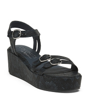 Snake Print Triple Buckle Wedge Sandals