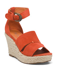 Made In Brazil Ankle Strap Suede Espadrille Sandals