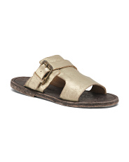 Rustic Style Leather Slide Sandals