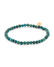 Handmade In Usa Protective Om Turquoise Stretch Bracelet
