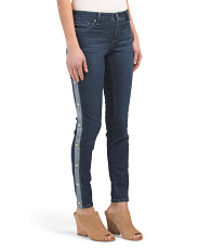 Side Button Distressed Skinny Jeans
