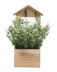 13.5in Faux Lavender In Wooden Planter