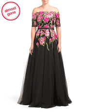 Off The Shoulder Embroidered Ball Gown