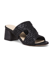 Made In Italy Woven Leather Heeled Sandals